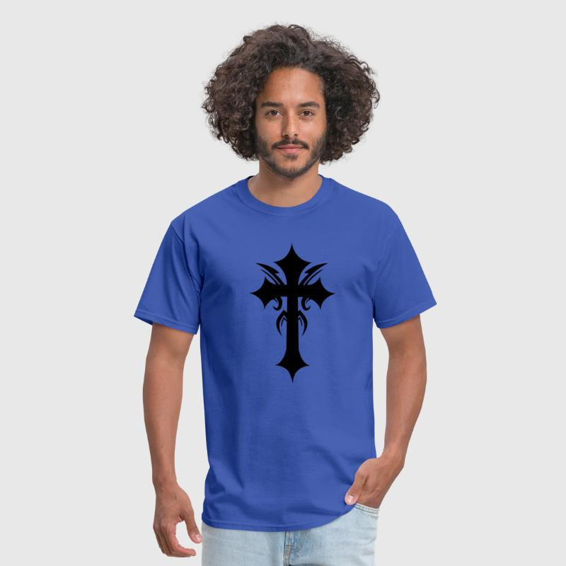 embellished funky cool gothic cross - Men's T-Shirt