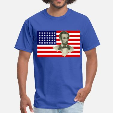 Civil War Confederate Soldier Abraham Lincoln with Civil War Union Flag - Men's T-Shirt