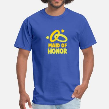 Honor MAID OF HONOR with cute love hearts and rings - Men's T-Shirt