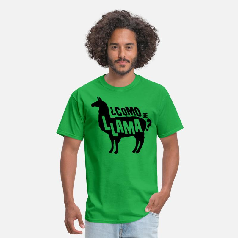 Alpaca T-Shirts - Como Se Llama - Men's T-Shirt bright green