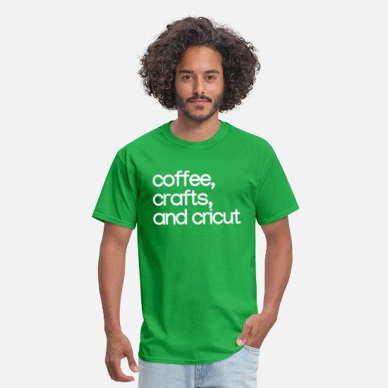 Crafters T-Shirts - coffee crafts and cricut-white - Men's T-Shirt bright green
