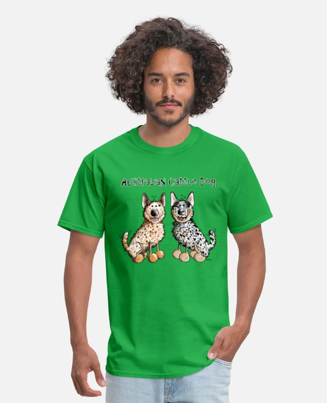 Herding Dog T-Shirts - Two funny Australian Cattle Dogs - Dog - Men's T-Shirt bright green