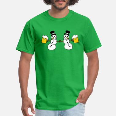 Bride snowman 2 friends team couple crew beer alcohol dr - Men's T-Shirt