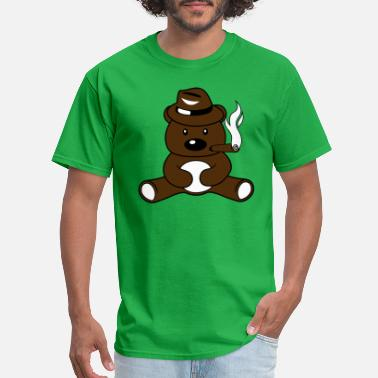 Smoking Bear cigar smoking gangster hat cap mafia criminal man - Men's T-Shirt