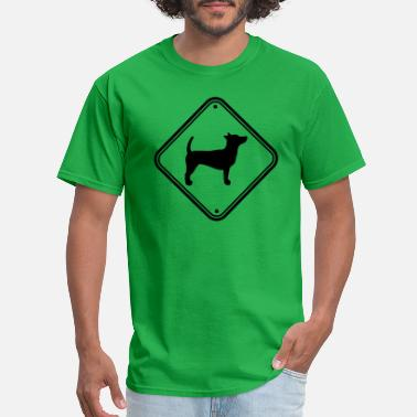 Spotted Caution dog sign caution note warning snappy clipa - Men's T-Shirt