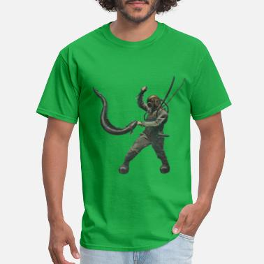 Vintage Diver with Diving Helmet Fighting an Eel - Men's T-Shirt