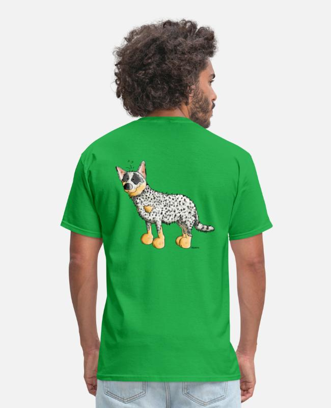 Dog Cartoon T-Shirts - Funny Australian Cattle Dog - Dogs - Men's T-Shirt bright green