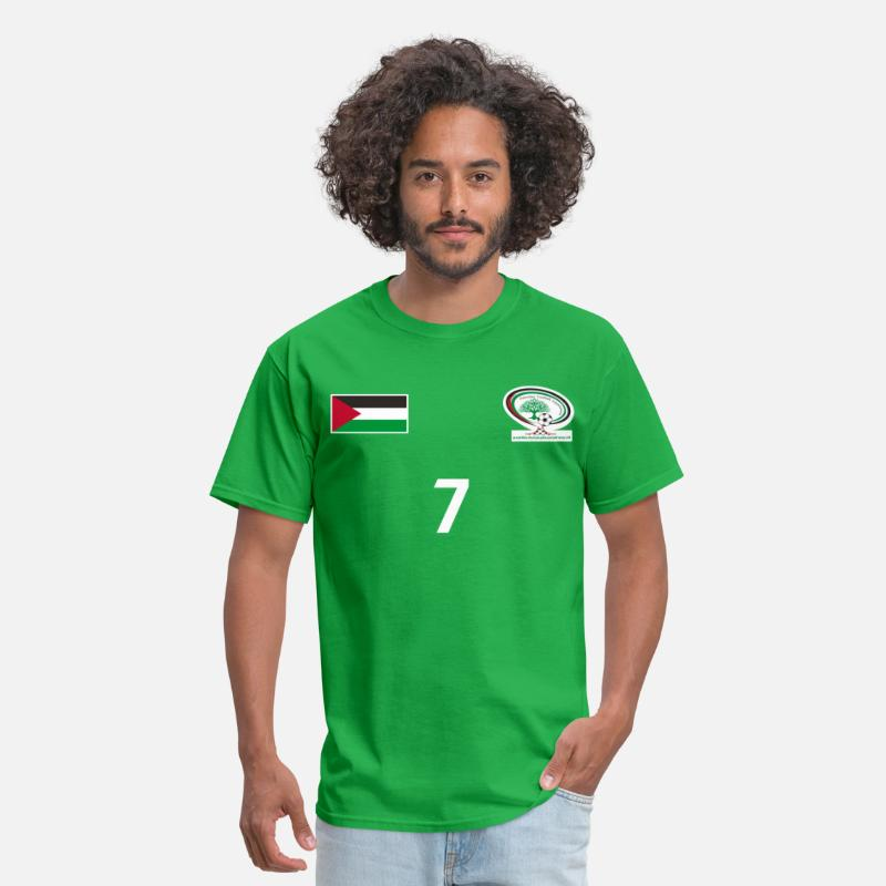 Football T-Shirts - Palestine National Football Team [GREEN] Shirt - Men's T-Shirt bright green