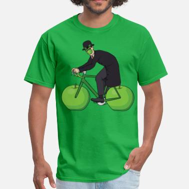 Magritte Son Of Man Riding Bike With Apple Wheels - Men's T-Shirt