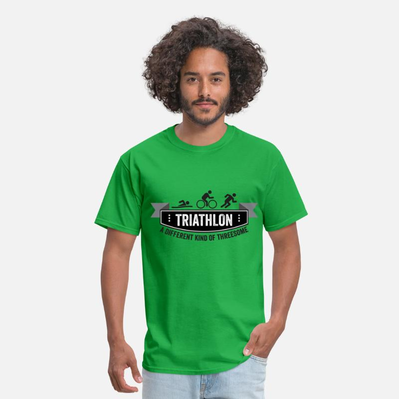 Funny T-Shirts - Triathlon – a different kind of threesome - Men's T-Shirt bright green