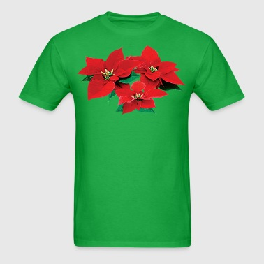 Three Red Poinsettias - Men's T-Shirt