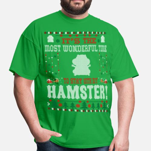 Wonderful Time With Hamster Christmas Ugly Sweater Men s T-Shirt ... da3ef2c46