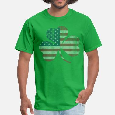 Faded Flag American Flag Irish Shamrock Vintage Fade - Men's T-Shirt
