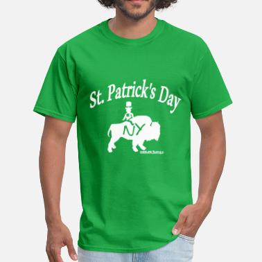 Buffalo St Patricks Day  leprechaun riding a buffalo on st. patrick's day - Men's T-Shirt