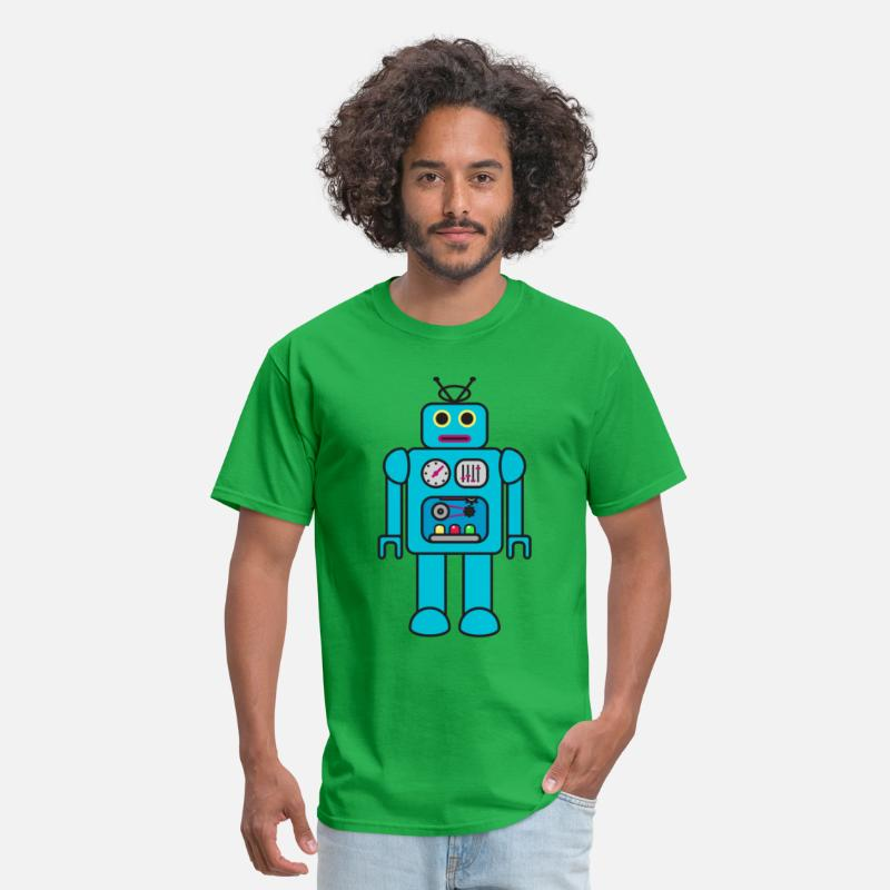 Robot T-Shirts - Blue Retro Robot - Men's T-Shirt bright green