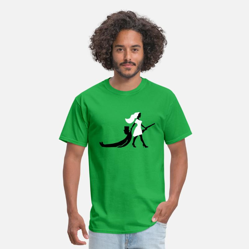 Bachelor T-Shirts - the hunt is over bride groom bachelorette party - Men's T-Shirt bright green