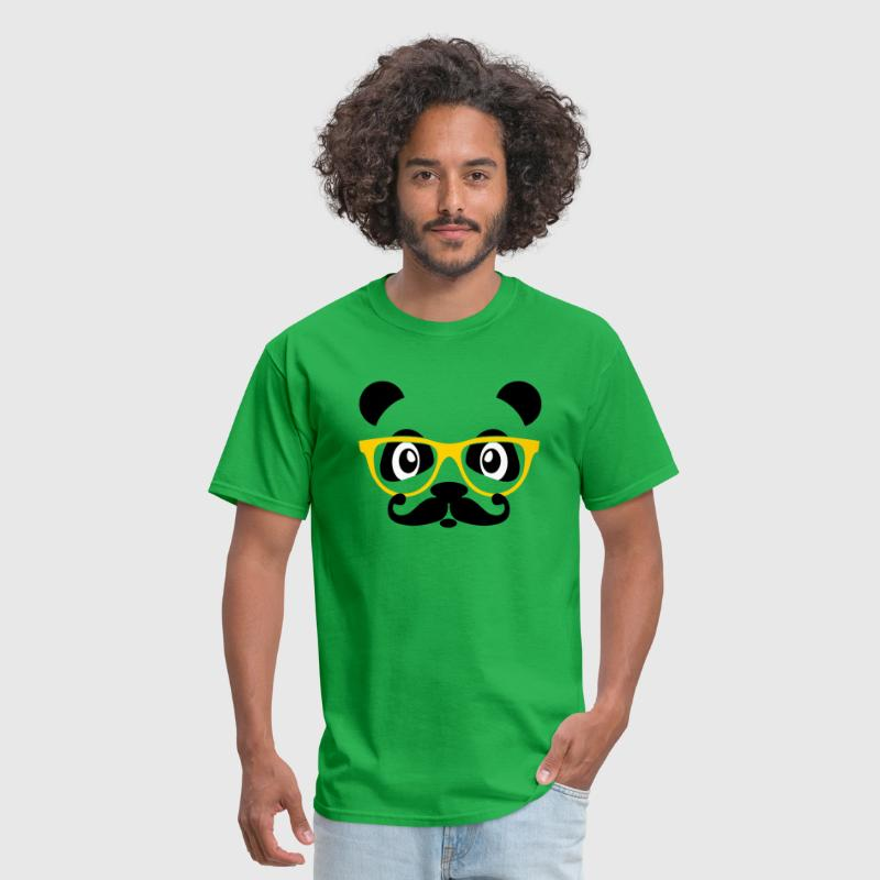 nerd panda with moustache and glasses - Men's T-Shirt