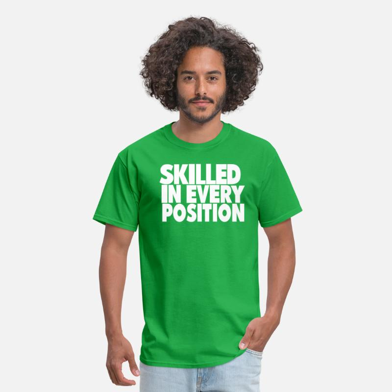 Cock T-Shirts - SKILLED IN EVERY POSITION - Men's T-Shirt bright green