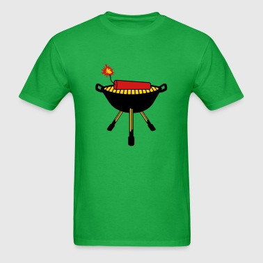 rod grilling sausage chef cook eat hunger fire hot - Men's T-Shirt