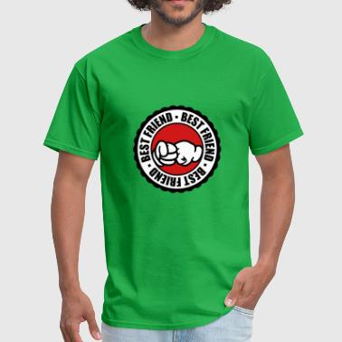 stamp round circle fists welcome best friends text - Men's T-Shirt