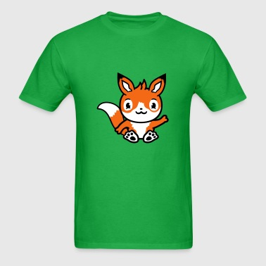 waving baby sitting fox cute cute little cartoon c - Men's T-Shirt