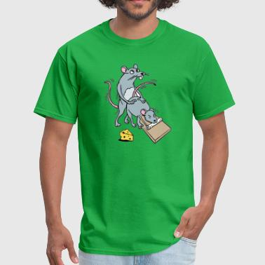Mouse Screwing a Mouse in a Mousetrap Funny Joke  - Men's T-Shirt