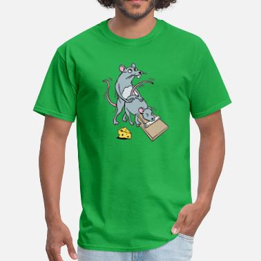 Cartoon Mouse Screwing a Mouse in a Mousetrap Funny Joke  - Men's T-Shirt