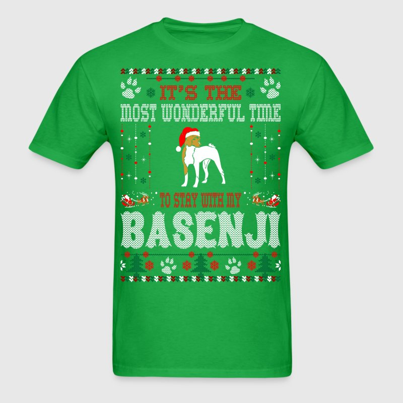 Wonderful Time With Basenji Christmas Ugly Sweater - Men's T-Shirt