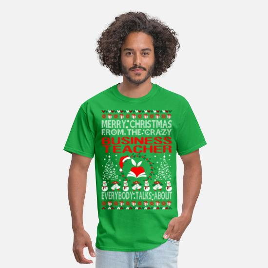 Business T-Shirts - Merry Christmas From Business Teacher Ugly Sweater - Men's T-Shirt bright green