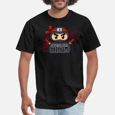 Cute Ninja This Little Ninja Is 6 Cute Ninja Birthday Shirt - Men's T-Shirt
