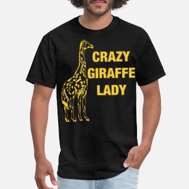 Crazy Giraffe Lady animals yellow shirts mens and - Men's T-Shirt
