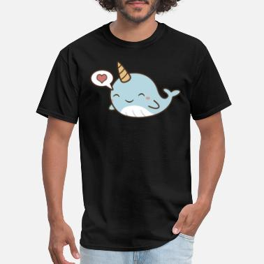 Onesis Cute Kawaii Love Narwhals T-Shirt - Men's T-Shirt