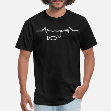 Logo FISHING PULSE HEARTBEAT fish accessories gift funn - Men's T-Shirt