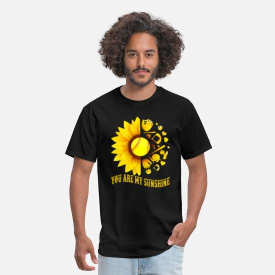 Sunflower T-Shirts - You Are My Sunshine Baseball Softball Sunflower - Men's T-Shirt black