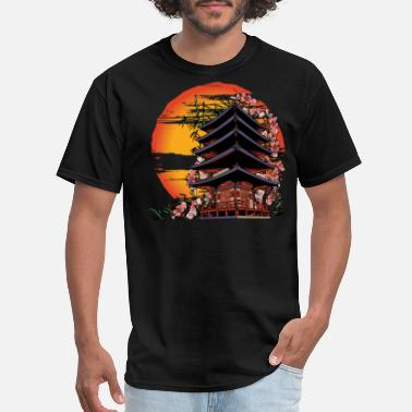Design Traditional Japanese Art Abstract Building - Men's T-Shirt