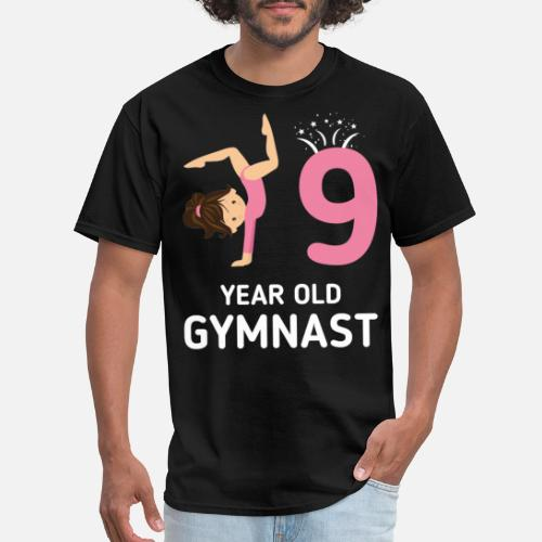 Mens T ShirtGirls Gymnastics Birthday Shirt Kids 9 Years Old