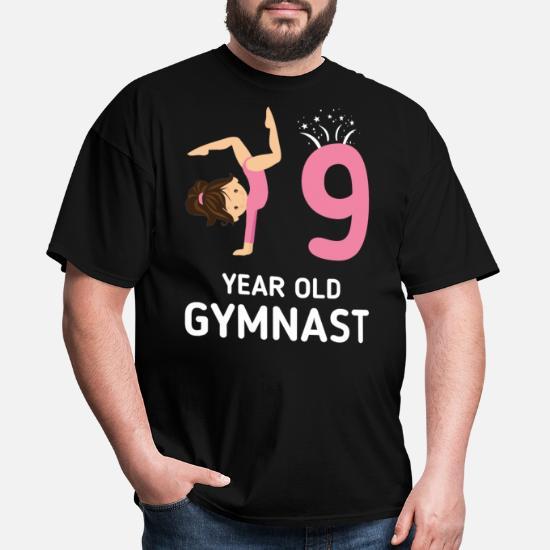 Girls Gymnastics Birthday Shirt Kids 9 Years Old Mens T