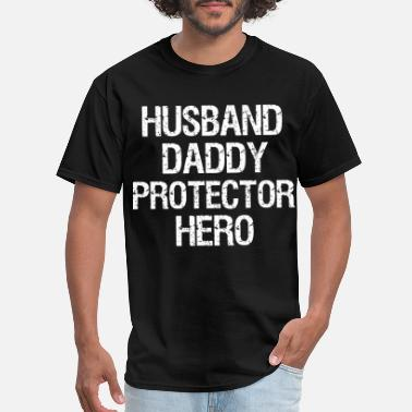 9fd4fa2a husband daddy protector hero fathers day gift dad - Men's T-. New.  Men's T-Shirt