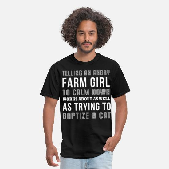 Women Farmers Girlfriend T-shirts T-Shirts - Telling an angry farm girl to calm down works abou - Men's T-Shirt black
