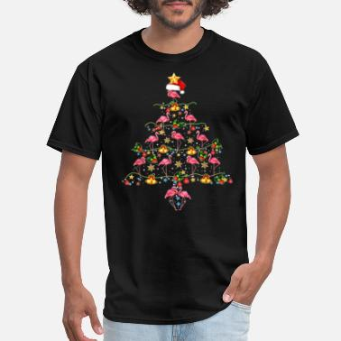 Cute flamingos Christmas tree Gift, funny flamingo - Men's T-Shirt