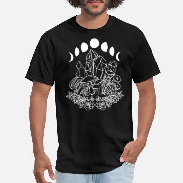 Sacred Geometry Moon Phases Crystals Succulents Mushrooms Witchy - Men's T-Shirt