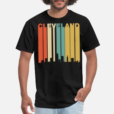 Cleveland Retro Cleveland Ohio Cityscape Downtown Skyline - Men's T-Shirt