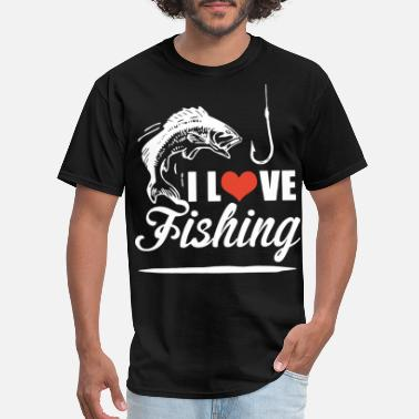 Red-milf-love i love fishing red heart fish in the beach ocean f - Men's T-Shirt