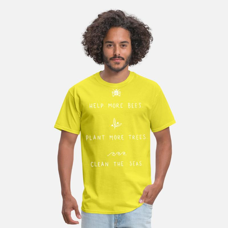 61d1079247d9a help more bees plant more trees clean the seas veg Men's T-Shirt - yellow