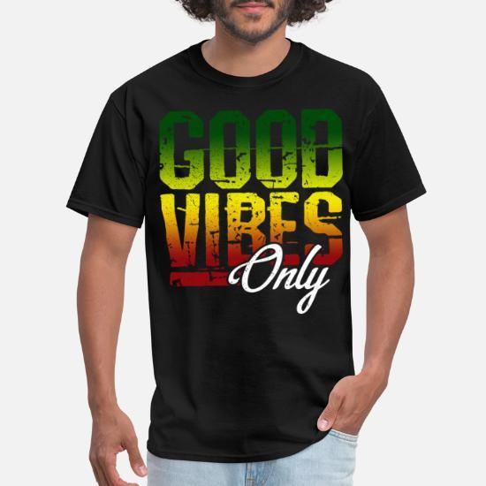 Good Vibes Only Rasta Reggae Roots Clothing Tee Flag T-Shirt Vintage Men Gift...