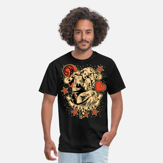 Tattoo T-Shirts - Screwed & tattooed Pin Up Zombie - Men's T-Shirt black