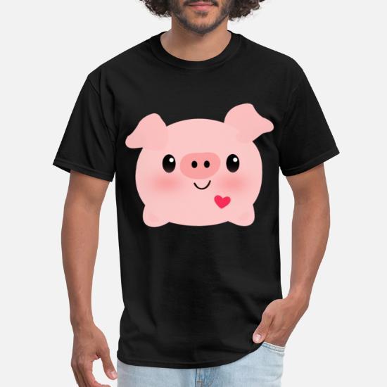 703e9795a Inktastic Kawaii I Love Pigs Women s Heart Pig Pig Men's T-Shirt ...