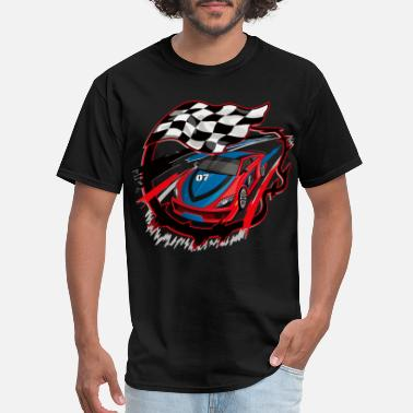 Auto Racing auto racing racing flags royalty free hand painted - Men's T-Shirt