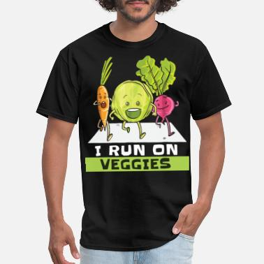 Cocks Sportswear i run on veggies carrot vegetables green not meat - Men's T-Shirt