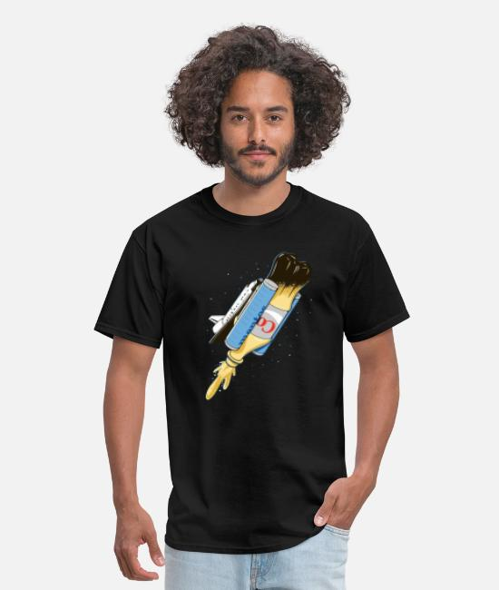 Hipster T-Shirts - Funny spaceship launch - Men's T-Shirt black